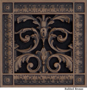 Louis XIV decorative vent cover 6x6 in Rubbed Bronze Finish