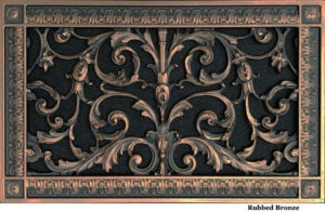 Decorative grille in Louis XIV style 8x14 in Rubbed Bronze finish.