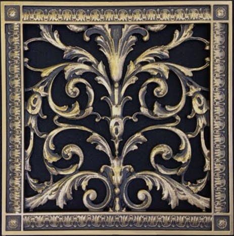 Louis XIV 12x12 decorative filter grilles in antique brass
