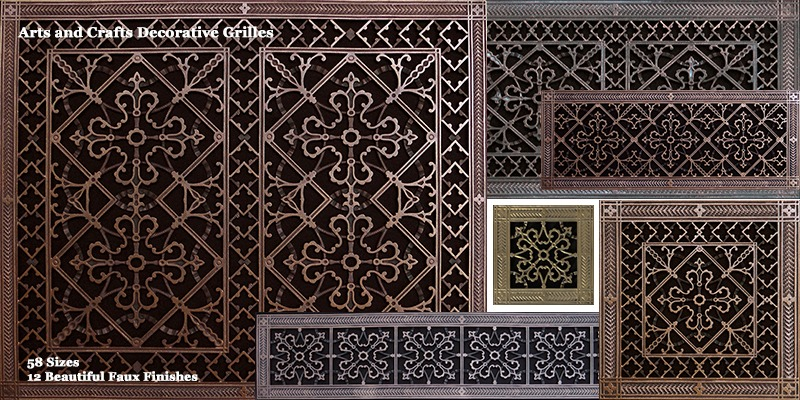 arts and crafts style decorative grilles in assorted sizes