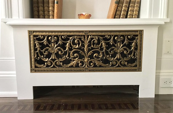 radiator cover with Louis XIV decorative grille 10x30