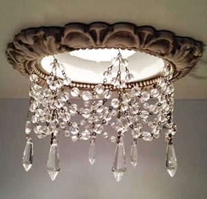 Victorian trim with clear U-drop crystals