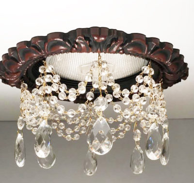 "recessed light trim in Antique Cherry Finish with 3 strands of faceted crystals and 1-1/2"" Tear Drops"