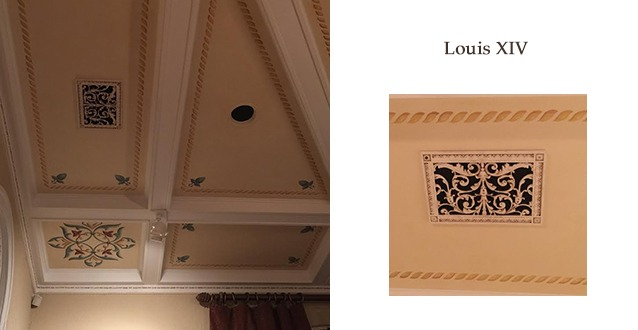Louis XIV style decorative ceiling grille shown in beautiful ceiling design