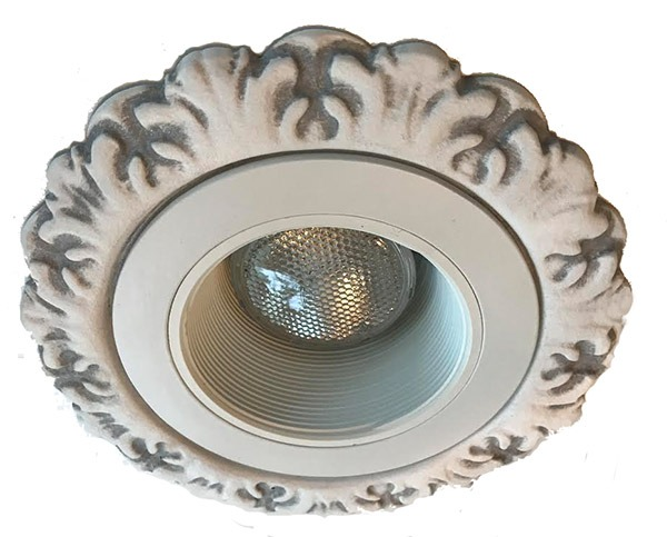 "Decorative Recessed Light trim Florentine Style 4"" in Gray Wash Finish"