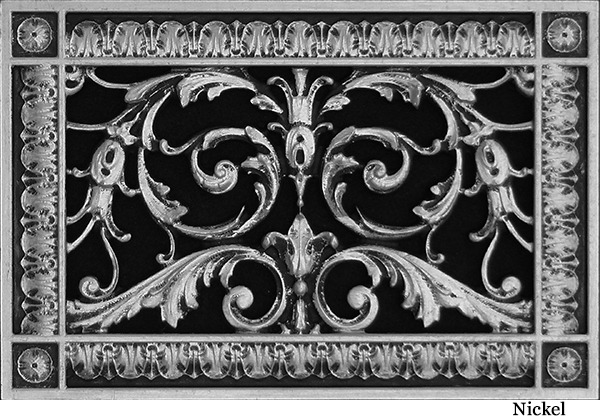 Louis XIV decorative vent cover 6x10 in Nickel