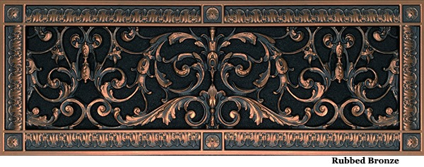 Decorative grille 6x20 in Louis XIV style in Rubbed Bronze finish