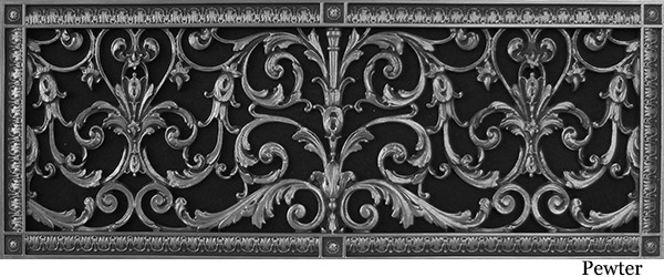"Decorative Grille 10"" x 30"" Louis XIV Style in Pewter"