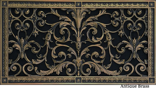 Decorative Vent Cover in Louis XIV style 12x24 in antique brass