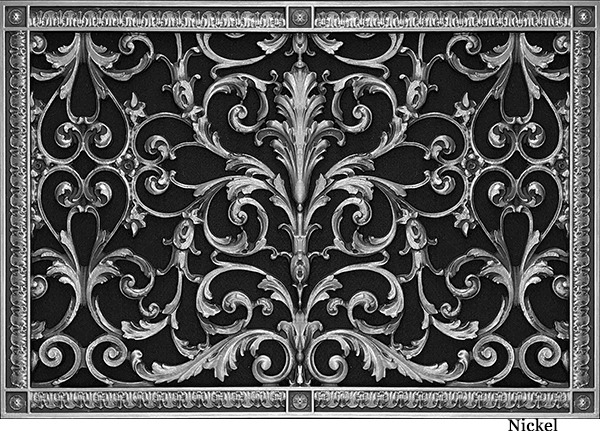 Decorative vent cover in Louis XIV style 16x24 in Nickel finish