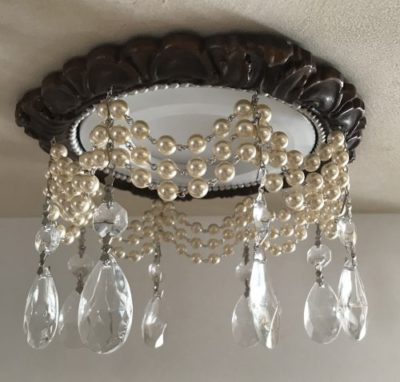 4″ Victorian Recessed Light Trim Chandelier #RC-141-3-Pearls-1-1.5teardrops
