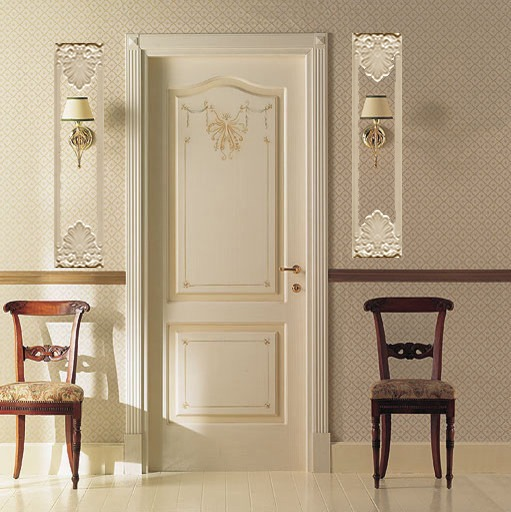 Empire Narrow Panels with Sconces on either side of a door