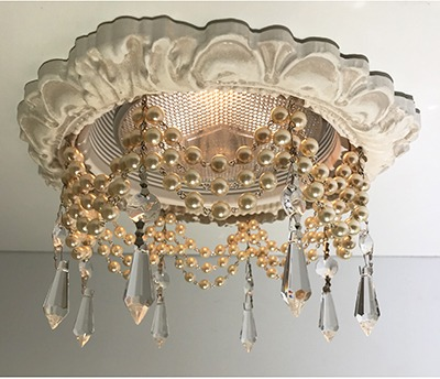 Recessed chandelier with triple strand of cream pearls and clear U-Drop crystals