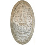 Arabesque Oval Wall Panel in aged stone