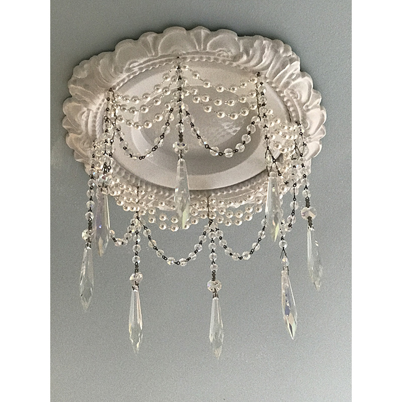 """6"""" LED decorative trim embellished with pearls and aurora borealis 3"""" U-drop crystals"""