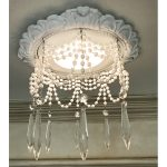 """Recessed Lighting trim with 4 strands of pearls and 3"""" Clear Crystal U-Drop crystals"""