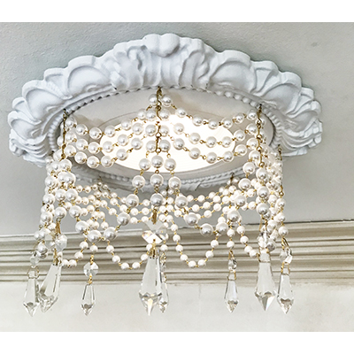 "Recessed Lighting Trim  Crystals Chandelier #RC-161-4-Pearls-1.5""-Clear-U-Drop"