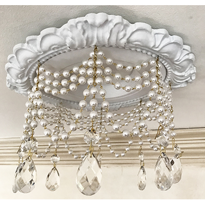 "Recessed Lighting Trim with 4 strands of pearls and 1-1/2"" Clear Teardrop"
