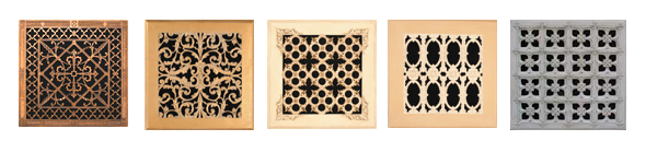 Gothic, French Colonial, Georgian, Italian Renaissance, Louis XIV and Arts and Crafts Style decorative grilles by Beaux-Arts Classic Products.