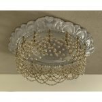 4-in-recessed chandelier with double pearl swags