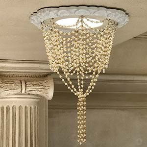 Recessed chandelier with pearl swags