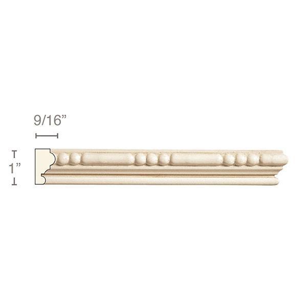 Small Bead and Barrel (Repeats 2 3/8), 1''w x 9/16''d