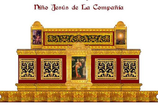Altar Design by the Brotherhood of the Holy Sepulcher with Louis XIV style grilles.
