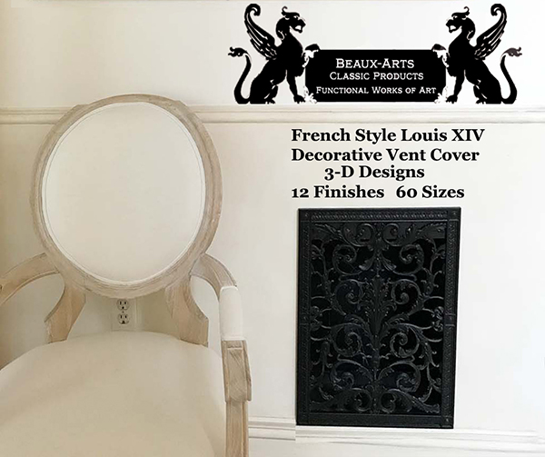 Decorative vent cover French style Louis XIV
